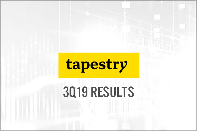 Tapestry (NYSE: TPR) 3Q19 Results: Revenue Misses