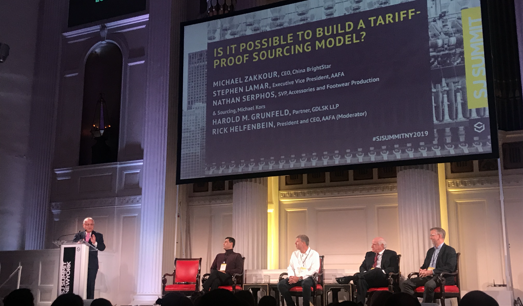 From left to right: Rick Helfenbein, President and CEO at AAFA (Moderator); Michael Zakkour, CEO & President at China BrightStar; Nathan Serphos, Senior Vice President of Accessories and Footwear Production & Sourcing at Michael Kors; Harold M. Grunfeld, Partner at GDLSK; Stephen Lamar, Executive Vice President at AAFA Source: Coresight Research