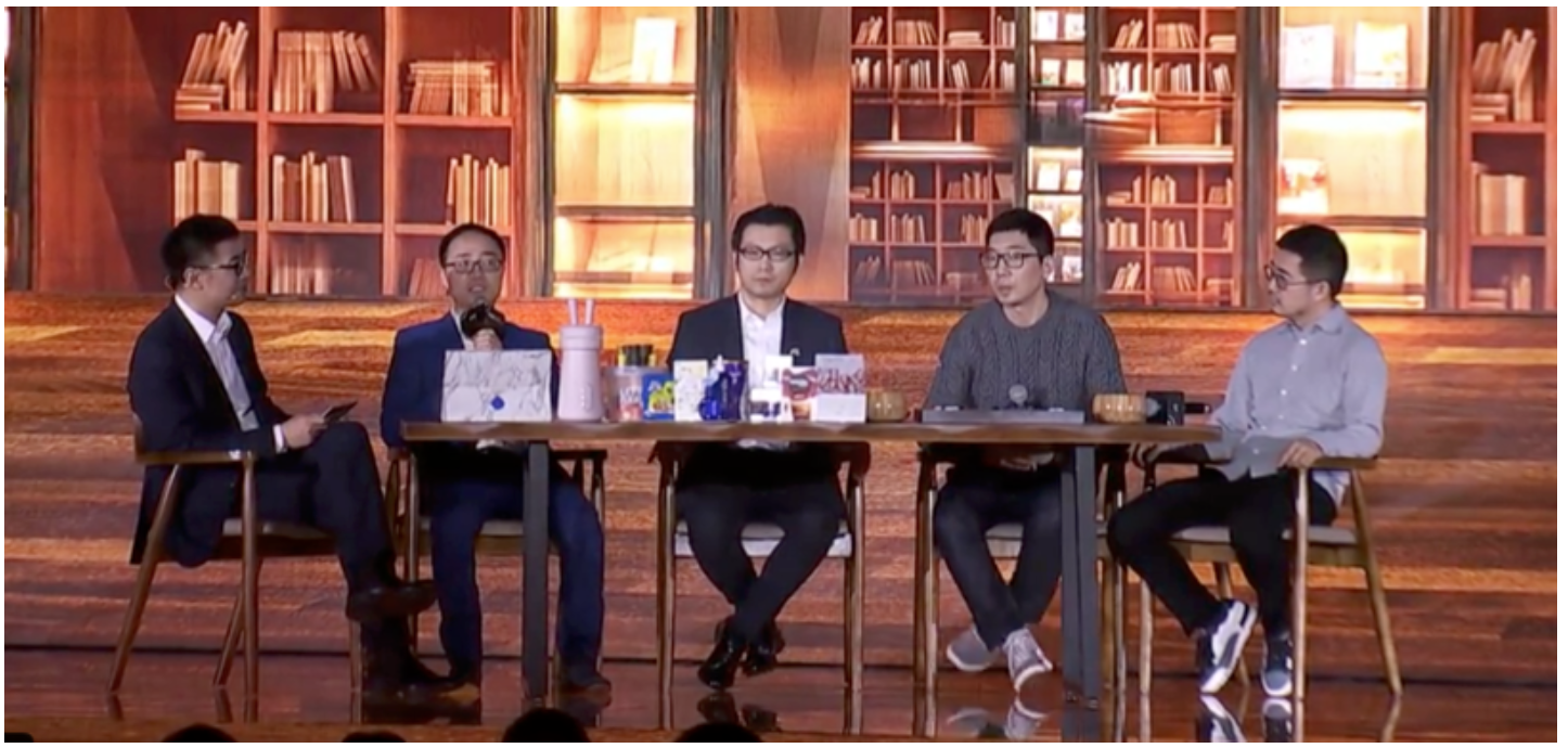 The product innovation panel-from left to right: Jet Jing, Vice President, Alibaba; Ye Yong, Vice President, Jo Young; Chris Tung, Chief Marketing Officer, Alibaba; Wu Jun, Founder of San Dun Ban Coffee; and, Jiang Fan, President of Tmall and Taobao Source: Coresight Research