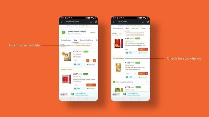 Displaying inventory in online shopping app