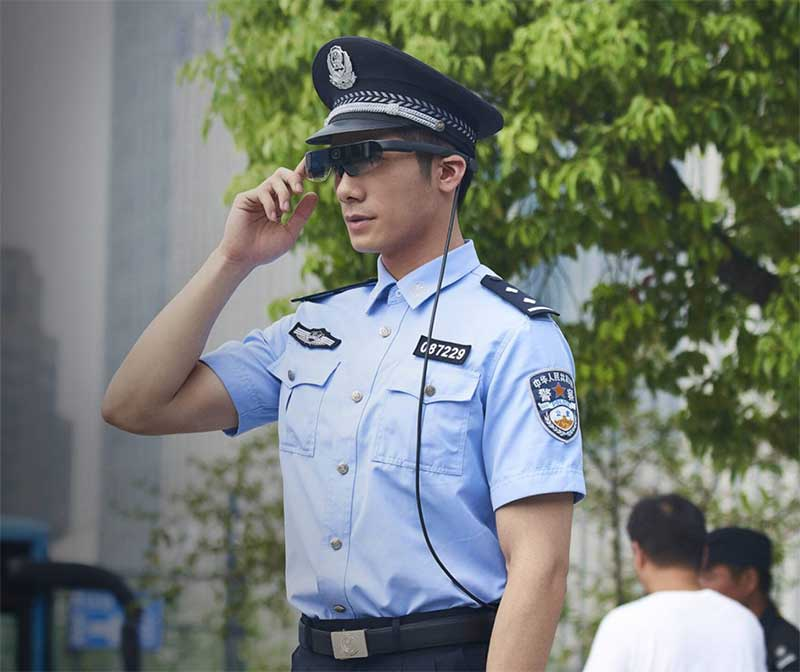 A policeman wears AI-powered glasses in China
